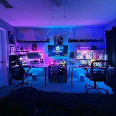 Best Gaming Setup, Gamer Setup, Gaming Room Setup, Pc Setup, Cool Gaming Setups, Gaming Chair, Bedroom Setup, Room Ideas Bedroom, Master Bedroom