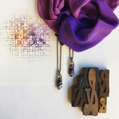 DYI hand dyed purple scarf and watercolor painting with amethyst pendants and old printing blocks. Just a little purple vignette.   www.taniarodamilans.com @taniarodamilans