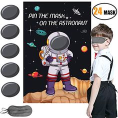 Pin the Mask on the Astronaut Game - Kids Solar System/Outer Space Birthday Party Supplies Decorations Kids Party Games, Birthday Party Games, Games For Kids, Activities For Kids, Game Party, 5th Birthday, Birthday Ideas, Space Solar System, Solar System Crafts