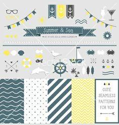 Set of summer elements for design vector by artnis on VectorStock®