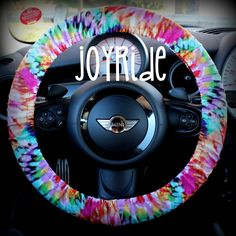 Steering Wheel Cover Tye Dye Rainbow- Cute Car Accessorries Hippie Heated Gift for Girls Seat Belt Cover Keychain Christmas Favorite Rose by JoyRideCovers on Etsy https://www.etsy.com/listing/208965503/steering-wheel-cover-tye-dye-rainbow