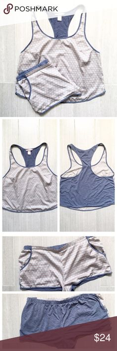 FLASH SALE VS Sleep Set Pajama Set PJs Victoria's secret pajama set with racer back tank top and shorts with pockets. Silk like pattern front and blue cotton and back. Very soft and comfortable. Pre-loved. BUNDLES 20% OFF  Victoria's Secret Intimates & Sleepwear