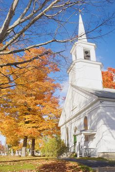 Old Country Church In Fall Monmouth Maine Photograph  - Old Country Church In Fall Monmouth Maine Fine Art Print
