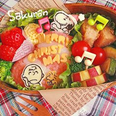 Snoopy , Charlie Brown and Woodstock bento