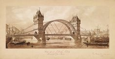 Unexecuted design of a building in London  a design for Tower Bridge by Sir Horace Jones   1878