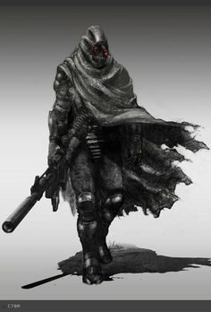 I like the idea of having some type of tattered cape or scarf, but this one covers too much of the armor.