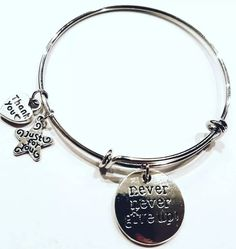 Bangle bracelet. Charm bangle bracelet. Charm bracelet. Charms bangle bracelet. Never give up charm bracelet. Jewelry. Jewelry for her. Gift by BeGcreations on Etsy