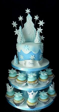 Frozen cake ready for licensed figures.