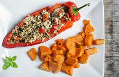 Vis: Zoete puntpaprika gevuld met koolvis, basilicum en pijnboompitten, met gebakken zoete aradappel