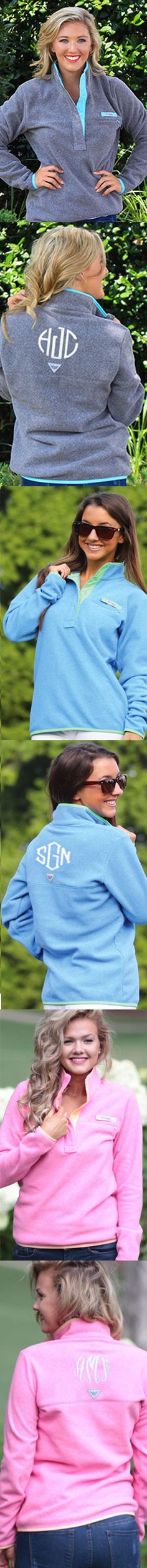 What I will be wearing to class this fall- Monogrammed Columbia Harborside Fleece Pullover from Marleylilly.com -Adorable! #PreppyStyle