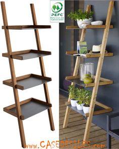 Etagère échelle bois et composite tulip 382 Pas Cher Box Shelves, Ladder Bookcase, Planter Boxes, Decoration, Images, Interior, Gardening, Home Decor, Urban