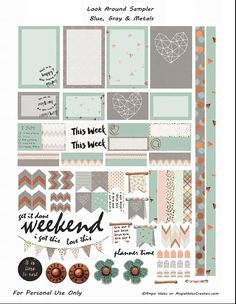FREE Look Around Sampler Blue , Gray and Metal Planner Sticker Printables- freebie by AMHales More