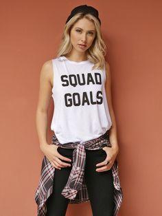West Coast Wardrobe Squad Goals Sleeveless Tank in White