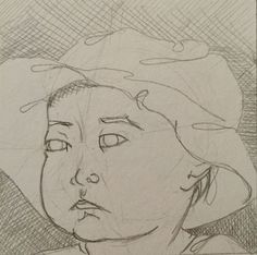Child in floppy hat. #pencildrawing
