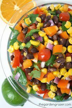 Southwestern black bean salad with citrus dressing (vegan, gluten-free)