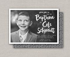 LDS Baptism Invitation Cole by announcingyou on Etsy Baptism Invitations, Lds, Invitation Design, Printables, Messages, Handmade Gifts, Simple, Awesome, Photos