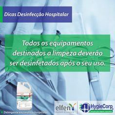 A Hygiecorp preparou uma lista de dicas sobre desinfecção hospitalar!  - Wynzime Hc:  Foi especialmente desenvolvido para a limpeza profunda de materiais cirúrgicos, fibroscópios e outros artigos de assistência à saúde.   #Dicas #DesinfecçãoHospitalar #WynzimeHc #Higyecorp  Fonte: Proslim