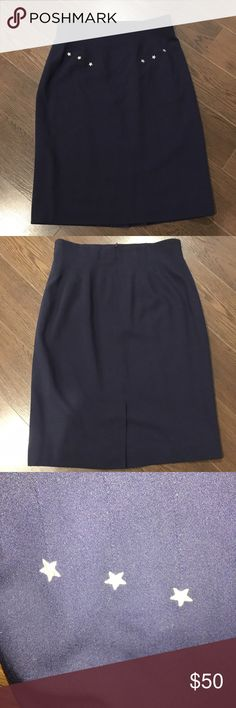 """ESCADA Margaretha Ley Career Straight Pencil Skirt VeryClassic and Professional Pencil/Straight Skirt from ESCADA in size 42EUR or 8US. * Navy with yellow gold star embroidered in front.  *Fully Lined. * Kick pleat on back of skirt. All measurements are lay flat & approximate only: ~ Length: 25.5"""" ~ Waist: 16"""" ~ Hip: 20"""" Color may vary due to camera lightings and different computer screens. Escada Skirts Pencil"""
