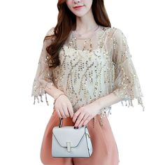 c0969d40e1a252 Hot Spring New Elegant Sequined Chiffon Blouse 2 Pcs O-Neck Long Flare  Sleeve Sweet Causal Tops Shirts Plus Size Size S Color Black