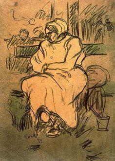 """""""Mujer sentada en un banco, 1897"""". Carboncillo y acuarela. 39,7 x 27,9 cms. Gabinete de Dibujos y Grabados del MNAC, Barcelona. España."""