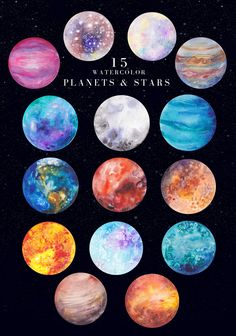 Icons Discover Watercolor planets and stars Magic watercolor planets and stars space universe shimmering stars zodiac signs painted alphabet seamless patterns gemstones and cosmic backgrounds in one pack. Galaxy Painting, Galaxy Art, Space Painting, Art Galaxie, Art Sketches, Art Drawings, Solar System Art, Planet Painting, Planet Drawing