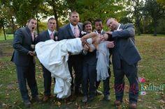 Fun funny wedding photo idea bride and groomsmen.
