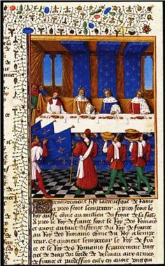 Banquet Given by Charles V (1338-80) in Honour of His Uncle Emperor Charles IV (1316-78) in 1378 by Jean Fouquet