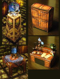 """Fantasy Paper Miniature Models: Hero-quest style furniture for your dungeon by Eddnic UPDATE:  the link above the pictures does not work - go to the top of the page and click """"more"""" - that will lead you to the Nov 2015 links"""