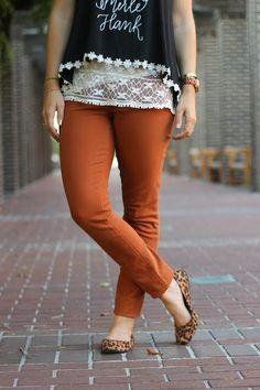 rust colored denim + leopard print flats (via Oh Sweet Joy!)