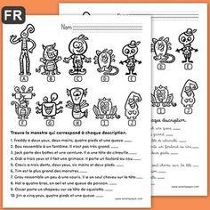 L'enfant lit les descriptions au bas de la page et il écrit la lettre qui correspond au monstre décrit. Le corrigé est disponible. Cela peut faire une belle activité pour l'Halloween! Reading Strategies, Reading Comprehension, Amelie Pepin, French Worksheets, Core French, French Classroom, French Resources, French Immersion, French Lessons