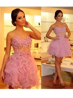 A-line+Sweetheart+Short/Mini+Organza+Cocktail+Dresses/Short+Prom+Dress#+ZP347