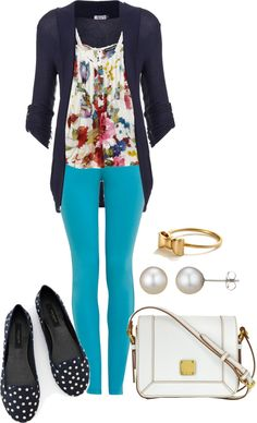 """""""Mixed Blues & Prints"""" by laurynmarton on Polyvore"""