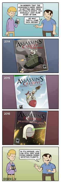 """The Future Of Assassin's Creed"" Assassins Creed Funny, Assassins Creed Series, Dorkly Comics, Character Bio, Tv Show Games, Yandere, Tumblr Funny, Nerdy, Pokemon"