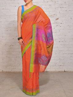 Orange Fuschia Belpatra Jamdani Silk Cotton Saree
