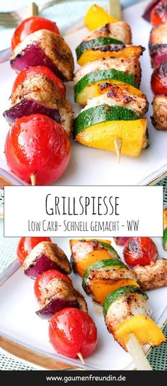 Low Carb Grillspieße mit Hähnchen und Gemüse Fast low carb grilled skewers with chicken, tomatoes, zucchini and onions – perfect for healthy low carb barbecues. The colorful skewers taste the whole family and are prepared quickly Zucchini, Law Carb, Fast Low Carb, Low Carb Recipes, Healthy Recipes, Quick Recipes, Kebabs On The Grill, Healthy Eating Tips, Healthy Food