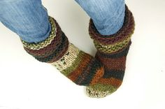 Knitting Patterns Slippers Looking for your next project? You& going to love Cozy Feet - Slipper Socks by designer LadyLi. Crochet Socks, Knitted Slippers, Slipper Socks, Knitting Socks, Knit Socks, Knit Crochet, Cozy Socks, Knit In The Round, Chunky Yarn