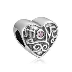 Soufeel Purple Love Mom Heart Charm