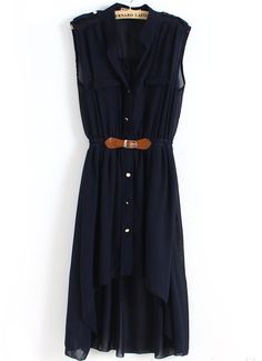 Vestido camisero asimétrico con cinturón-Marino-Spanish SheIn(Sheinside)