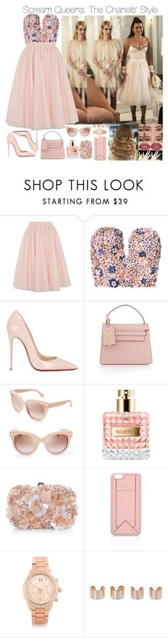 """""""Scream Queens: The Chanels' Style"""" by jdyolaleye ❤ liked on Polyvore featuring Ted Baker, Marina Hoermanseder, Christian Louboutin, Valentino, Accessorize, Karl Lagerfeld, Michael Kors, Maison Margiela, Anastasia Beverly Hills and Smashbox"""
