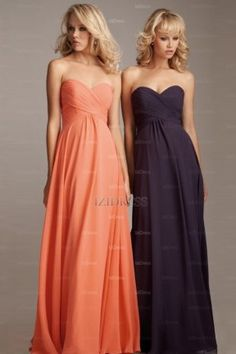 A-Line/Princess Sweetheart Strapless Floor-length Chiffon Bridesmaid Dress - IZIDRESSES.com at IZIDRESSES.com