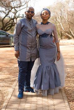 Bride and groom in Seshweshwe print Seshweshwe Dresses, Wedding Dresses, South African Traditional Dresses, African Prints, Traditional Wedding, Wedding Things, Peplum Dress, Groom, Weddings