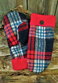 This item is unavailable Sweater Mittens, Wool Sweaters, Bear Design, Blue Plaid, Hand Sewing, Sewing Patterns, Crochet, Gossip, Handmade