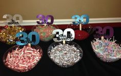 30th Birthday Party Candy Bar.   Thanks to Sew Sentimental Vinyls for the bowl signs! http://www.deal-shop.com/product/leachco-snoogle-total-body-pillow-ivory/