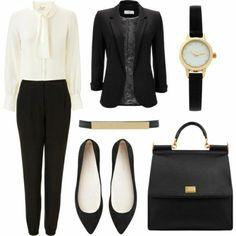 Business Mode Damen elegant und bequem schwarz weiß