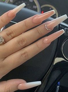 In look for some nail designs and ideas for your nails? Here is our set of must-try coffin acrylic nails for trendy women. Coffin Nails Ombre, Bling Acrylic Nails, Acrylic Nails Coffin Short, Simple Acrylic Nails, Best Acrylic Nails, Rhinestone Nails, Simple Nails, Gel Nails, Nail Nail