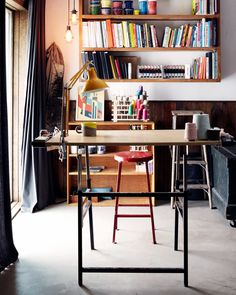 tidy + colorful home office Home Office Space, Office Workspace, Desk Space, Interior Decorating, Interior Design, Interior Exterior, Modern Family, Living Spaces, Work Spaces