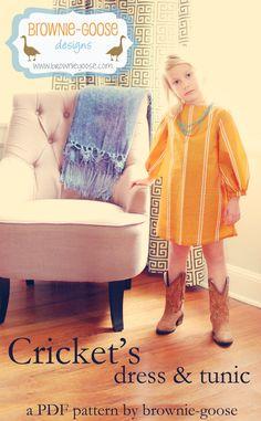BG Originals Cricket's dress and tunic pdf pattern by browniegoose, $9.00