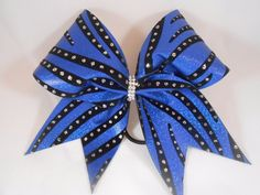 Girls' Accessories Royal Blue Mystique Black Cheer Bow By Blingitoncheerbowz Cheerleading Bows, Cheer Bows, Black Velvet, Holographic, Royal Blue, Glitter, Unique Jewelry, Handmade Gifts, Ebay Clothing