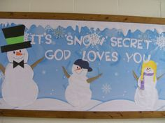 Kinda cheesy but perfect for younger kids. Kinda cheesy but perfect for younger kids. Religious Bulletin Boards, Christian Bulletin Boards, Classroom Bulletin Boards, Classroom Door, School Classroom, Classroom Ideas, December Bulletin Boards, Winter Bulletin Boards, Winter Bulliten Board Ideas