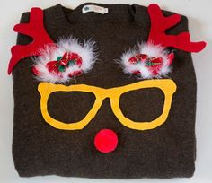 Use stencils to make this nerdy reindeer sweater for holiday parties.